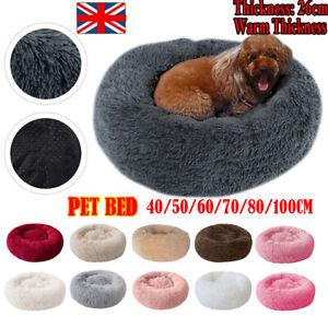 M-XL Pet Dog Cat Calming Bed Shag Warm Fluffy Nest Mattress Fur Donut UK-
