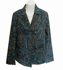 Susan Graver Jacket Blazer Size S 6 8 Paisley Moleskin Turquoise Sueded Stretch
