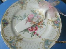 Nwb Andrea By Sadek Floral Amore Cake Stand and Server 101/2 in Gold trim Japan