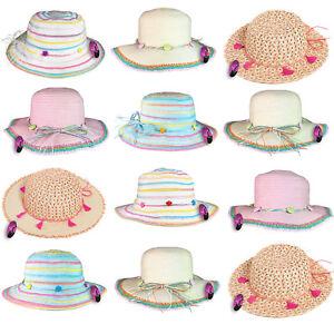 Girls Straw Sun Hat Brim Summer Packable Crushable Foldable Beach Children Kids