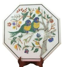 """15"""" White Marble Kitchen Table Top Inlay Birds Multi Floral Design Home Decor"""