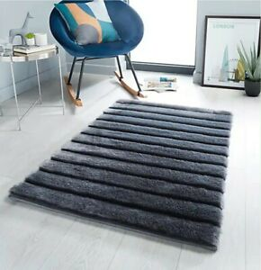 NEW Charcoal Carved Faux Fur Rug - Fluffy Rug for kids/dogs 110cm x 80cm 🇬🇧 UK