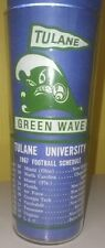 Rare 1967 Tulane Greenwave Football Schedule plus Coaching staff Glass