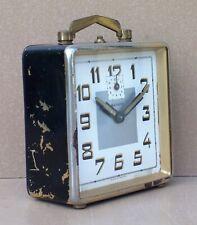 Réveil à clé BAYARD ancien ART DÉCO chromé & noir vintage old alarm clock