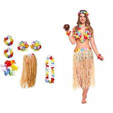 Women Hawaii Luau Party Long Hula Skirt Lei 6pcs Costume Outfit Girl Fancy Dress
