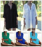AU SELLER Soft Cotton Tunic Kaftan Long Top Shirt Blouse Beach Kimono Cover t032