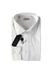 NWT D'Avenza White Royal Oxford 100% Cotton Shirt Size 17 US 43 EU