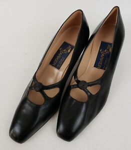 Joel Parker Woman Dress Leather Shoes Size B5 Black Heel Pump Italy handcrafted