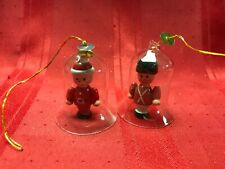 Vtg Lot 2 Clear Glass Bell Ornaments Wooden Figurine Clapper