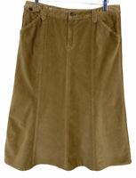 Eddie Bauer Women's size 12 skirt Corduroy Brown Tan modesty equestrian long