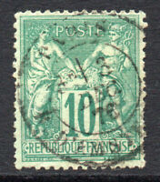 France 10 Cent Stamp c1876-85 N under U Used (small tear) (2364)