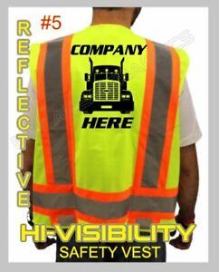 CUSTOM HI-VISIBILITY SAFTY TRUCK DRIVER VEST YOUR DESIGN HERE *FRONT AND BACK*
