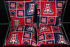 Arizona Wildcats 4 Cornhole Bean Bags/ Baggo Toss Top Quality Handmade! New!