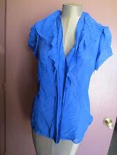 BCBG coblat blue sheer ruffle ss silk blouse shirt sz s