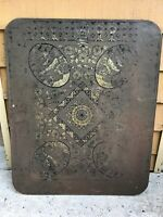 American 1920's Antique Parlor Stove Board - Lithograph Tin and Wood