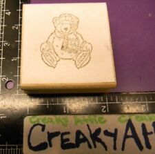 Bear Stuffed Snow Skates Scarf Hat Rubber Stamp Co-Motion Comotion May Be