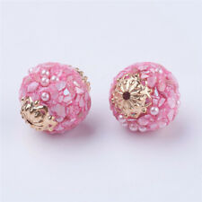 5 Pcs Round Handmade Indonesia PearlPink Beads with Metal Findings Craft 19x18mm