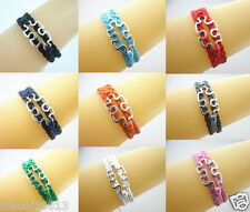 20pcs of Silver Tone Puzzle Autism Charms Leather Braided Bracelet - As Picture