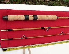 CANNE à Pêche lancer moulinet BAMBOU REFENDU rod fishing bamboo split cane reel