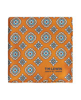 T.M.Lewin Mens Orange Geometric Medallion Silk Pocket Square
