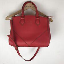 Leona Edmiston Hand Bag Red Tote Medium Gold Cross Body Double Handle RRP$119