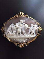 XX Fine Huge Antique Shell Cameo Brooch Pendant Bacchanalian Scene Putti Goat
