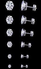 Womens Mens Ear Stud Stainless Steel Silver Black Round Cut Cubic Earrings 3-8MM