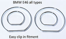 NEW BMW E46 gauge rings for instrument cluster high glosse chrome tachoringe M3