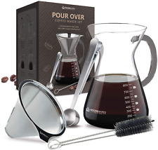 Pour Over Coffee Maker Glass Carafe Stainless Steel Filter Coffee Scoop + Brush