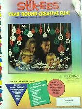 Christmas Decoration Clings Red Green White Ornaments Window Cling Reusable NEW