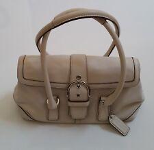 COACH Hamptons Soho Buckle Flap Satchel Bag - Creamy White Soft Leather