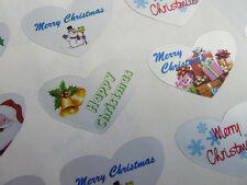 Merry Happy Christmas Silver Heart Greeting Stickers, Labels for Cards HCHS-3524