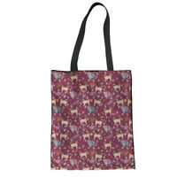 Pug Dog Floral Handbag Eco Canvas Shopper Bag Open Large Tote for Womens Girls
