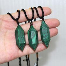 Natural Malachite Crystal Gemstone Quartz Healing Stone Pendant Jewelry Necklace