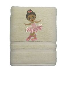 African American Ballerina Girl Bathroom HAND Towel SET Embroidered Personalized