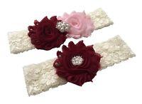 Burgundy and blush wedding garter plus size ivory lace bridal garter set