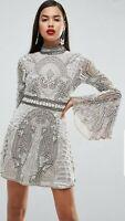 ASOS RED CARPET EMBELLISHED Fluted Sleeve MINI DRESS UK10 GREY Sparkle Dress NEW