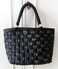 Vintage 1990's Retro 1960's Black Woven Webbing & Straw Tote Hand Bag by M&S