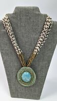 CHICOS MINA Faux Turquoise Statement Necklace Multi Strand Beaded Medallion