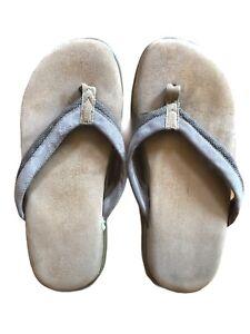 Vintage Sharper Image Suede Memory Foam Sandal Flip Flops Men's Sz 9-11 NOS