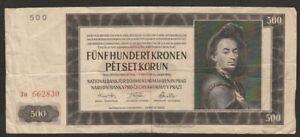 1942 BOHEMIA & MORAVIA 500 KORUN NOTE
