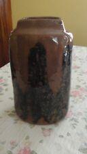 Midcentury Leach British Pottery Vase John Bedding St Ives Kaki Tenmoku Glaze UK