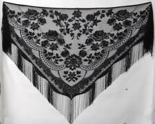 Lace Shawl Wrap Black Victorian Style Fringed Prom Vintage Evening Wear