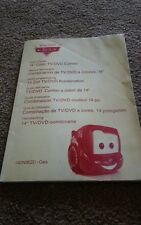 Instructions / user guide for Disney Pixar Cars TV and DVD combo