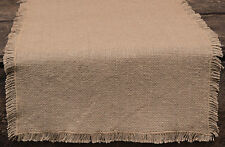 New Country Primitive Rustic Farmhouse Chic NATURAL BURLAP Tan Table Runner 48""