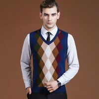 Men Wool Tops Gilets Sleeveless Jumper Pullover Checked Sweater Knit Vest Casual