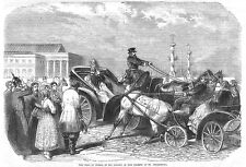RUSSIA The Czar in his Drosky at St Petersburg - Antique Print 1856