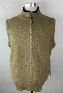 NWT! Pendleton Brown Wool Fleece Reversible Sweater Full Zip Vest Men's XL