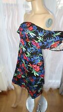 AG Multi floral tropical off shoulders bardot black George 12uk holiday casual