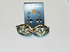 Baby phat green crystal small hook dangle silver tone earrings NEW BLING